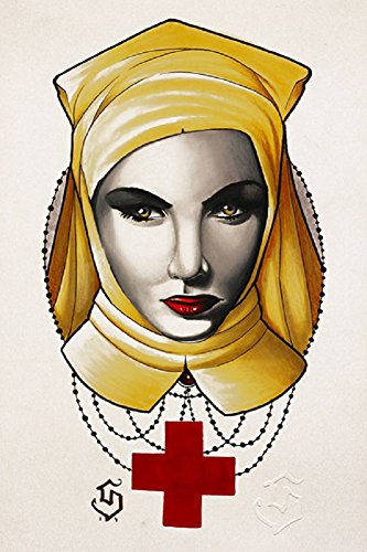 The Nurse by Siege Neo Traditional Tattoo Art Rolled Canvas or Paper Art Print (Best Neo Traditional Tattoo Artists)