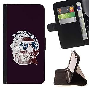 Momo Phone Case / Flip Funda de Cuero Case Cover - Frescos Shades Llamas cráneo púrpura de la Muerte - Samsung Galaxy S6 EDGE