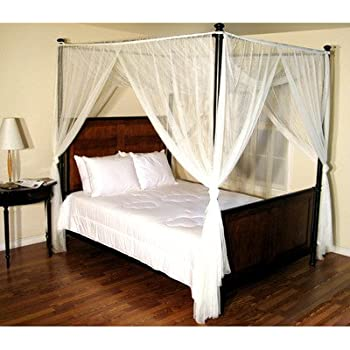 Epoch Hometex Palace Four-Poster Bed Canopy White & Amazon.com: Epoch Hometex Palace Four-Poster Bed Canopy White ...