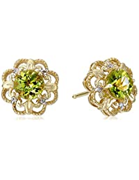 14k Yellow Gold Peridot with Diamond Accent Milgrain Earring Jacket