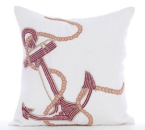 Luxury White Cushion Covers, Beaded Anchor Nautical Ocean &
