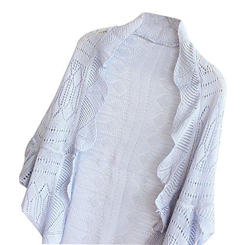 Keral - Rebeca tipo camisa para mujer, de punto, mangas tipo murciélago gris claro