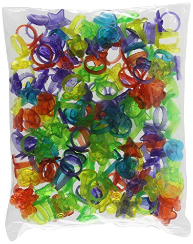 Rhode Island Novelty 144 Plastic Glitter Rings (Assorted Colors and Designs)(Discontinued by manufacturer) -