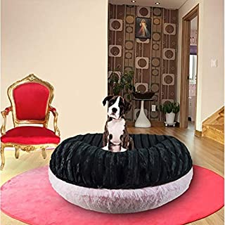 product image for BESSIE AND BARNIE Signature Black Puma/Bubble Gum Luxury Shag Extra Plush Faux Fur Bagel Pet/Dog Bed