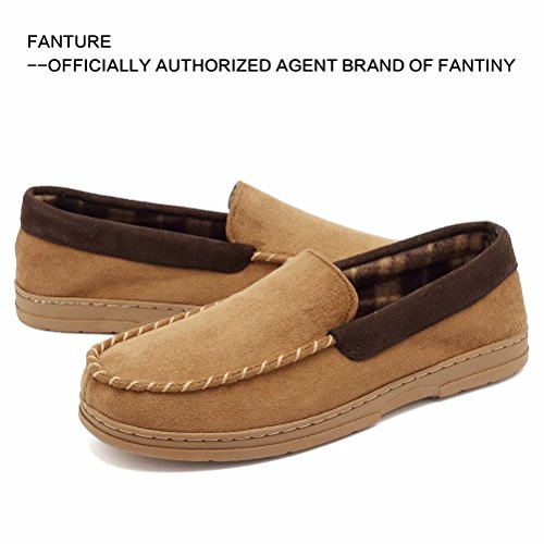 Moccasin Casual Men's Fanture Pile Micro Sole Suede On Flats Slippers Slip Camel Lined Outdoor Indoor Rubber WawYw5pq