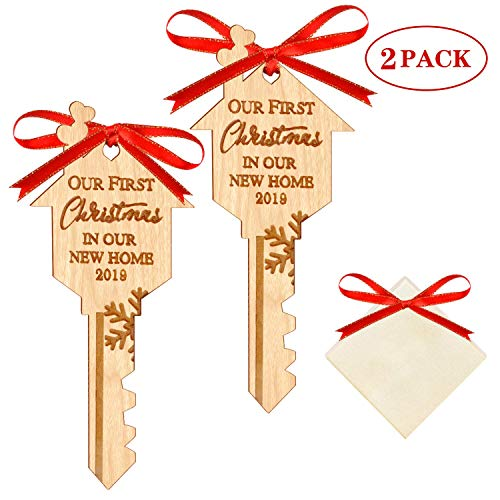 WAVEJOEY 2019 Christmas Ornament Our First Christmas in Our New Home Wooden Key Shape Housewarming Gift Xmas Tree Decoration 2 Pack (Tree Christmas Ornaments First)