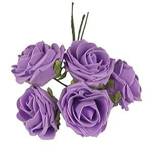 Ramo de 5grande suave espuma rosas–flores artificiales boda seda Premium falsa,, Lilac
