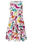 UNIFACO Dinosaur Print Dress Cute Summer Sleeveless Cartoon Tank Dress for Toddler Girls 6-7T