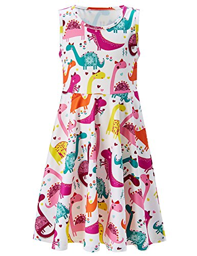 7t 8t Kids Girl Vintage Dress 3D Floral Print Cute Cartoon Colorful Dinosaur with Bowknot Animal Zoo for Little Baby Princess Sleeveless Ruffles Hemline Frocks Casual Custome for Dance Festival Party]()