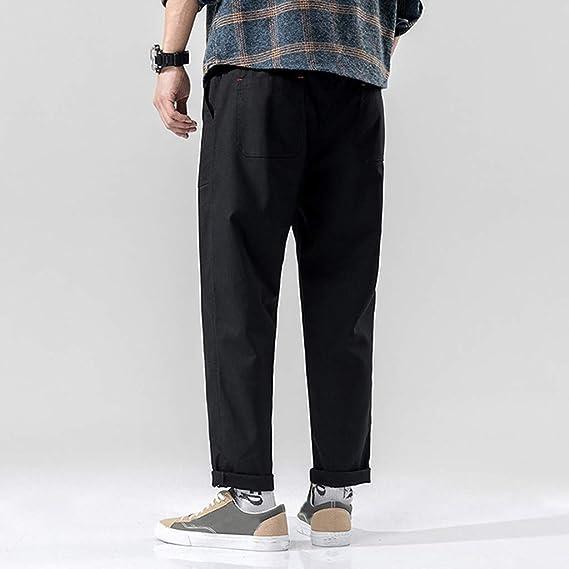19450500c5c7 iLXHD Men's Summer Solid Color Slim Pocket Drawstring Cotton Linen ...