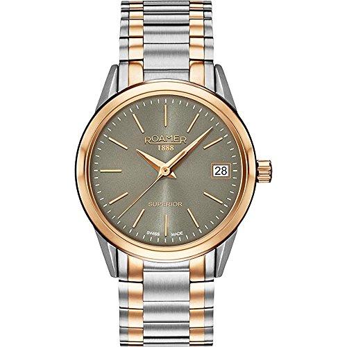 Roamer of Switzerland Women's Superior 30mm Two Tone Steel Bracelet Quartz Grey Dial Watch 508856 49 05 51