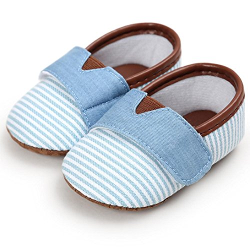 Xshuai Baby Mädchen-Jungen Anti-Rutsch-beiläufige Streifen-Segeltuch-Schuh-Turnschuh-rutschfeste Schuhe Himmelblau