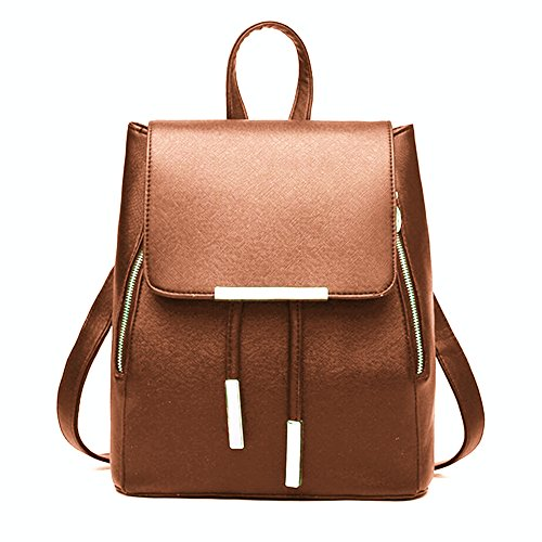 WINK KANGAROO Fashion Shoulder Bag Rucksack PU Leather Women Girls Ladies Backpack Travel bag (Brown 1) by WINK KANGAROO