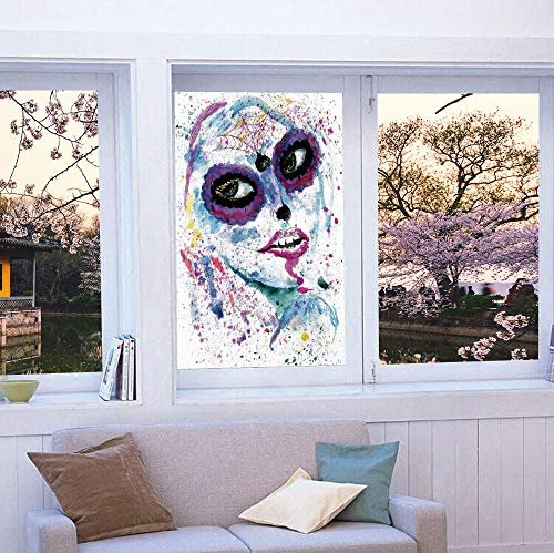YOLIYANA Privacy Window Film Decorative,Girls,for Glass Non-Adhesive,Grunge Halloween Lady with Sugar Skull Make Up,24''x36'' -