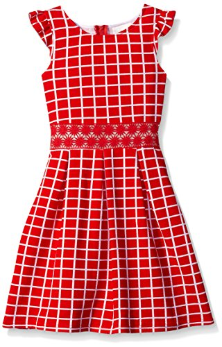 Lavender Slim Girls Printed Knit Dress Ruffle Sleeve with Inset with Box Pleat Skirt, Poppy, 10