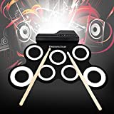 Portable Electronic Drum Set Roll-Up Drum Kit with Built-in Speakers Foot Pedals Drumsticks