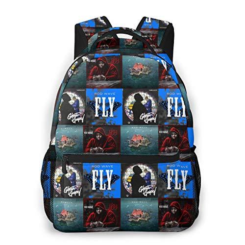 8byeliu 3D Print Rod-Wave Casual Backpack,Multifunctional Schoolbag Knapsack Rucksack