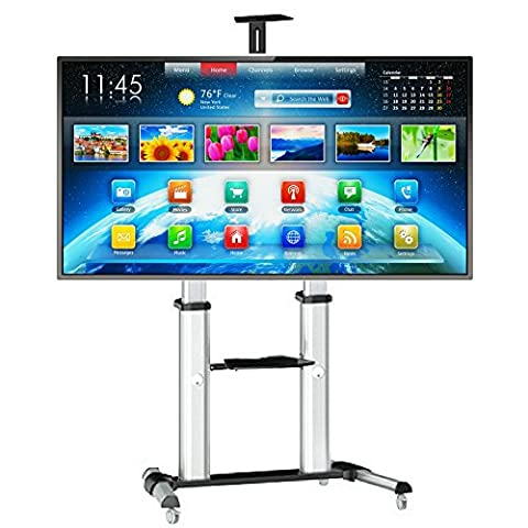 """PriMount Smart TV Rolling Cart for LCD LED with Locking Wheels. Universal Mounting System fits most VESA 60"""" - 100"""" inch Screens. Best Office Conference Room Stand on the Market - Video Conference Carts"""