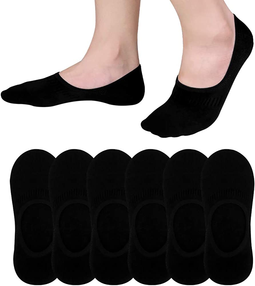 6-Pack Black No Show Socks Men Size 6-10 Cotton Athletic Low Cut Sock Best Casual Invisible Non-Slip Socks