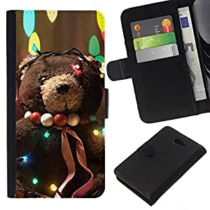 KLONGSHOP // Tirón de la caja Cartera de cuero con ranuras para tarjetas - Adorable oso - Sony Xperia M2 //
