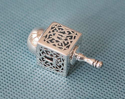 Hanukkah Chanukkah Dreidel Collector's Beautiful Unique 925 Silver Ornate Filigree Design, Hand Made , Size: 1.75'' x 0.75'' . Spinning Top . Perfect & Great Gift for Hanukkah Collectors Kids Housewarming Birthday by Judaica