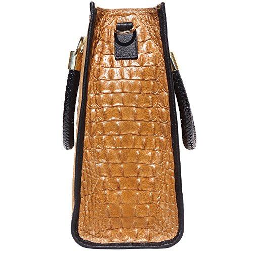 Florence Bolso Mano 7004 En Becerro Marron Relieve croco Hecho Cuero Claro Market De Leather Mock wwrqCT