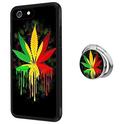 iPhone 6s Plus 6 Plus Case with Holder Ring Watercolor Marijuana Leaves Soft Black TPU Rubber and PC Anti-Slip Grip Cover Case, Shockproof Defend Protective Phone Case for iPhone 6s Plu (Marijuana Leaf Case)