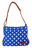 Blue & Gold Crosses Hobo Crossbody Bag by White Elm | Canvas & Vegan Leather