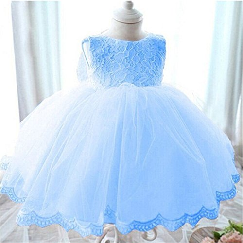 Hong Kong Sevens Costumes 2016 (Csdf Toddler Girls Dress Summer Bow Lace Princess Dress Flower Girls Dress Wedding Costume For Kids Party Dress Girl Clothes Blue 4)
