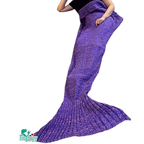 Hughapy Christmas Soft Mermaid Tail Blanket Handmade Living Room Sleeping Blanket For Kids Adult ( 71×35, Dark Purple)