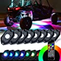 Xprite Rgb Led Rock Lights W Bluetooth Controller Multicolor Neon Led Light Kit Timing Function Flashing Music Mode For Underglow Off Road Truck Suv 8 Pods