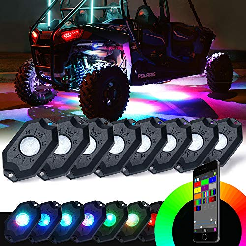 (Xprite Victory Series RGB LED Rock Lights Multicolor Neon LED Light Kit w/Bluetooth Controller, Timing, Flashing, Music Mode for Underglow Off Road Truck SUV - 8 Pods)