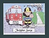 Firefighter Gift Personalized Custom Cartoon Print 8x10, 9x12 Magnet or Keychain