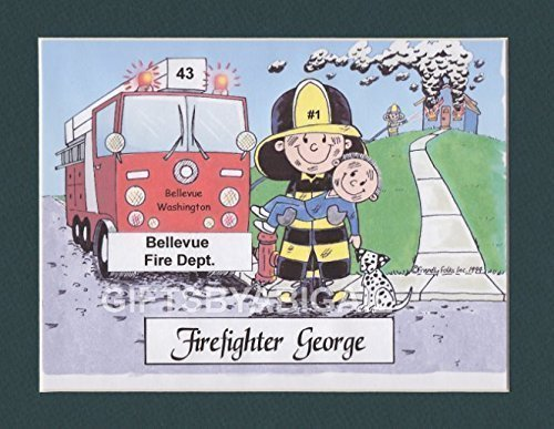 Firefighter Gift Personalized Custom Cartoon Print 8x10, 9x12 Magnet or Keychain by giftsbyabigail