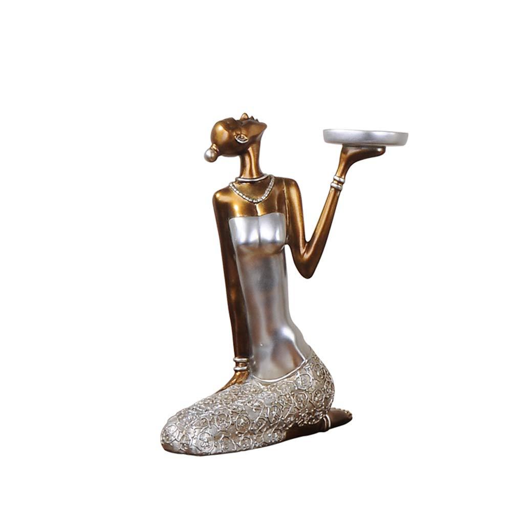 Statua QIQIDEDIAN Decorazione Artigianato in Resina con portacandele Creative Romantic Retro Furnishings (colore   Uno Stile)