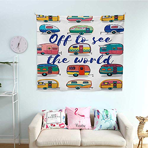 Camper Horizontal Tapestry Off to See The World Inspirational Quote on Mini Caravans Background Vintage Trip Image Decorative Tapestry 32W x 32L InchMulti ()