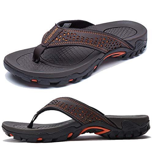 KIIU Mens Flip Flop Indoor and Outdoor Thong Sandals Beach Slippers Brown, 45