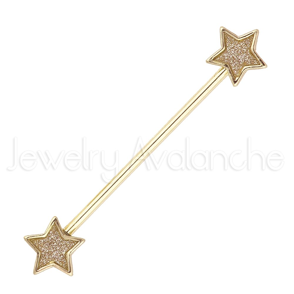 Sandpaper Scaffold Barbell Titanium Anodized 316L Surgical Steel Cartilage Earrings 2-Pieces 14G Star Industrial Barbell Earrings