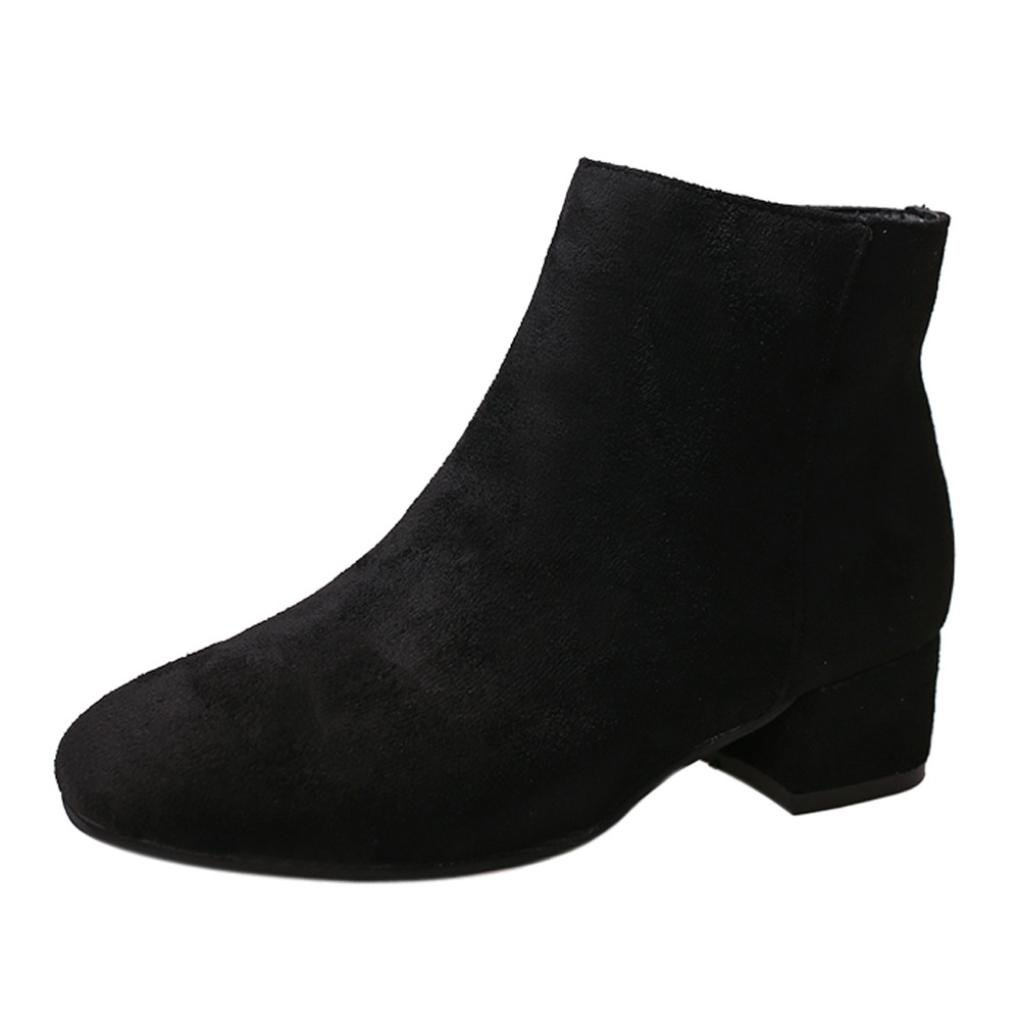 Clearance Sale Womens Girls Ankle Boots, Autumn Winter Casual Zipper Wedges Shoes 5.5-7.5 (Black, US:7)