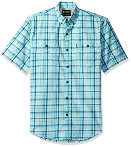 Explorer Splash (GH Bass Men's Explorer Fancy Short Sleeve Plaid Shirt, Aqua Splash,)