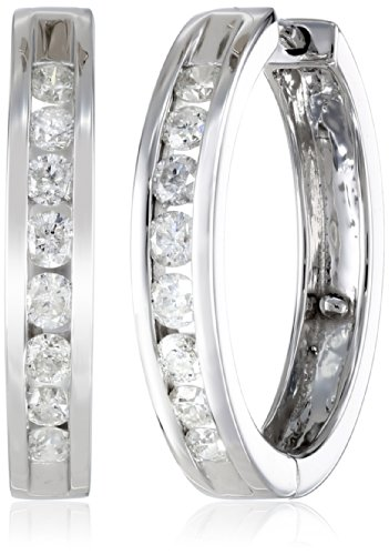 10k White Gold Channel-Set Diamond Hoop Earrings (1/2 cttw, H-I Color, I2-I3 Clarity)