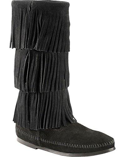 Women's Minnetonka 3-Layer Fringe Boot, Size 5 M - Black
