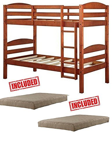 Amazon Com Mainstays Twin Over Twin Wood Bunk Bed In Light Cherry