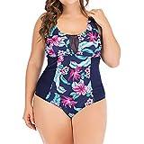 Mlide Slimming Monokini Bathing Suits for Women Plus Size Costume Padded Swimsuit Monokini Push Up Bikini Sets(Printed Dark Blue,L)