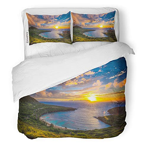 Emvency Bedding Duvet Cover Set Twin (1 Duvet Cover + 1 Pillowcase) Beauty Sunrise from Hanauma Bay On Oahu Hawaii Sunset Aloha Hotel Quality Wrinkle and Stain Resistant (Duvet Koko Cover)