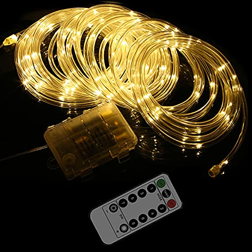 LED Rope Lights Rolesde Battery Operated Fairy Strip String Lights with Timer&Remote 33 Feet 100 LED Indoor Outdoor Waterproof 8 Modes Genie Twinkle Lamp (1, Yellow)