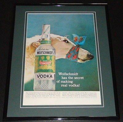 Wolfschmidt Vodka (1958 Wolfschmidt Vodka 11x14 Framed ORIGINAL Vintage Advertisement)