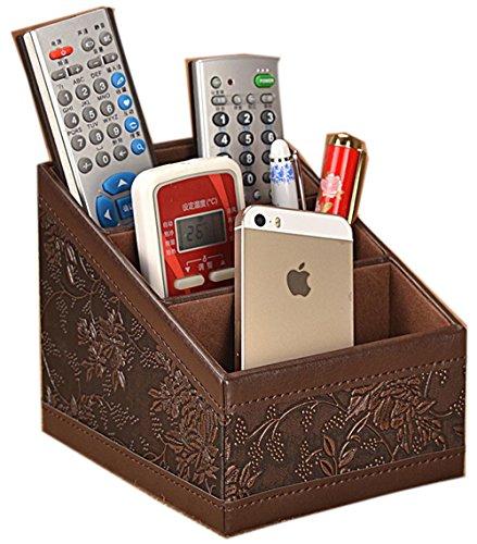 Figella Tilt 3 Slot PU Leather Remote control/controller TV CD Organizer Caddy holder (classic carve) (Remote Control Caddie compare prices)