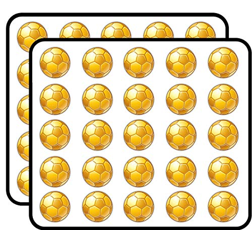 Soccer Ball Golden Sticker for Scrapbooking, Calendars, Arts, Kids DIY Crafts, Album, Bullet Journals 50 Pack