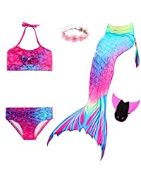 Mermaid Tail Swimsuit Included Monofin and Flower Headband for Kids